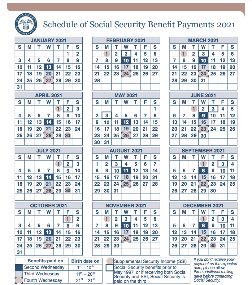 """What are the Social Security Payment dates for 2021"""