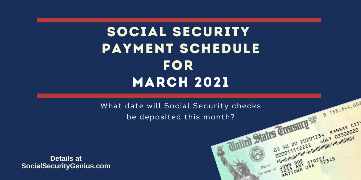 """""""March 2021 Direct Deposit dates for Social Security Benefit Payments"""""""